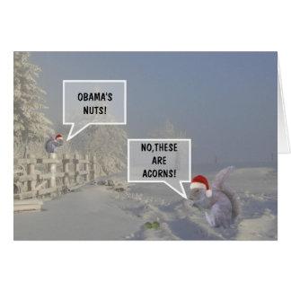 El navidad nuts de Obama divertido Tarjeta De Felicitación