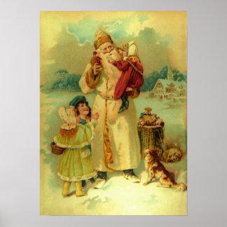 El navidad Papá Noel del vintage del Victorian emb Impresiones