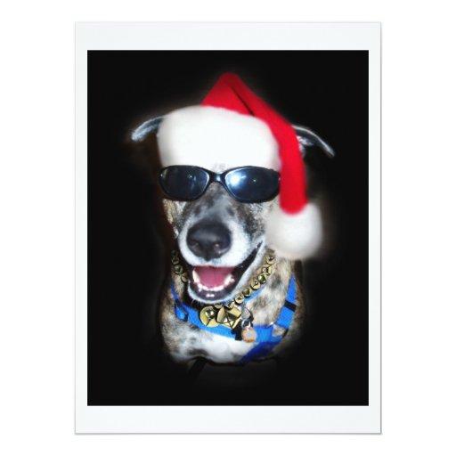 """El navidad persigue con el gorra de Santa Invitación 6.5"""" X 8.75"""""""