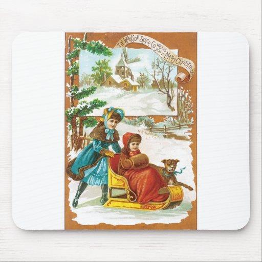 El navidad persigue y trineo tapetes de raton