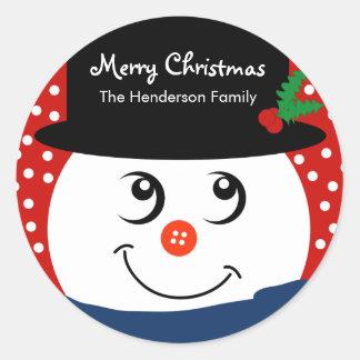 El navidad personalizó al pegatina - muñeco de nie
