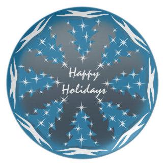 El navidad platea la placa azul personalizada del plato para fiesta