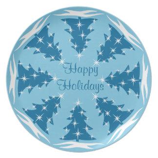 El navidad platea la placa azul personalizada del platos