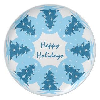 El navidad platea la placa azul personalizada del platos para fiestas