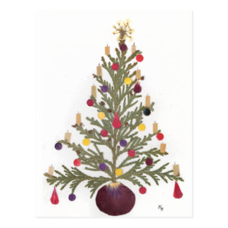 El navidad presionó diseño floral tarjeta postal