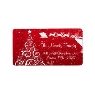 El navidad que envía la dirección etiqueta el rojo etiqueta de dirección