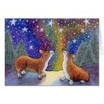 El navidad que los Corgis gozan de las estrellas j Felicitacion