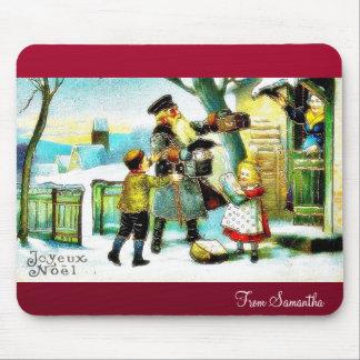 El navidad que saluda con Papá Noel presenta los r Alfombrillas De Raton