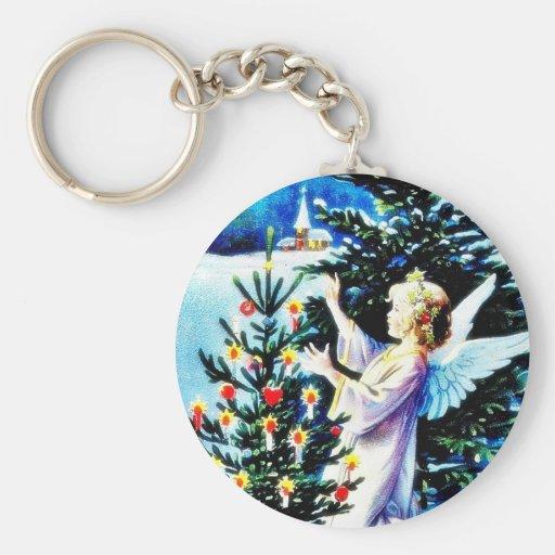 El navidad que saluda con un ángel adorna el chr llavero redondo tipo pin