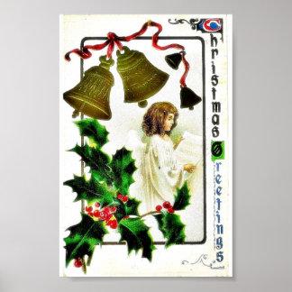 El navidad que saluda con un ángel alista un papel póster