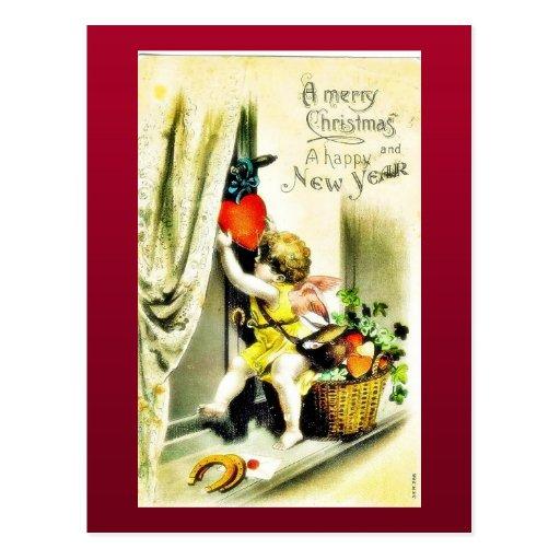 El navidad que saluda con un ángel coloca los rega postales