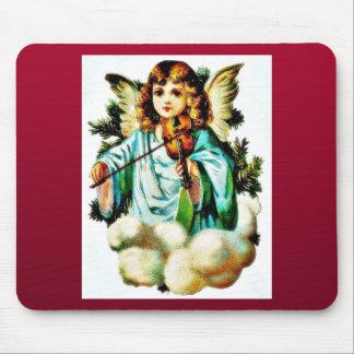 El navidad que saluda con un ángel juega música tapetes de raton