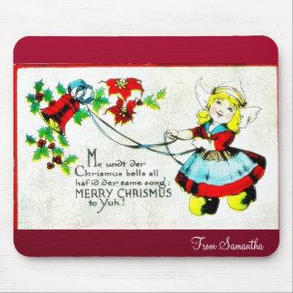 El navidad que saluda con un ángel juega música tapete de ratones