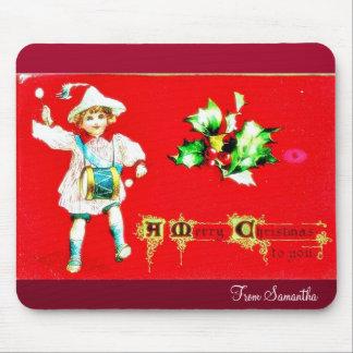 El navidad que saluda con un ángel juega música alfombrilla de ratones