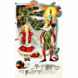 El navidad que saluda con un chica baila con un jo escultura fotográfica