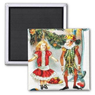 El navidad que saluda con un chica baila con un jo imán para frigorifico