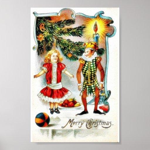 El navidad que saluda con un chica baila con un jo posters