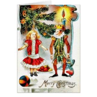 El navidad que saluda con un chica baila con un jo felicitaciones