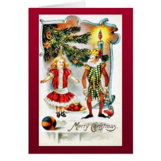 El navidad que saluda con un chica baila con un jo felicitación