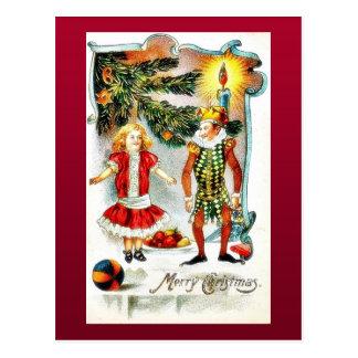 El navidad que saluda con un chica baila con un jo postal