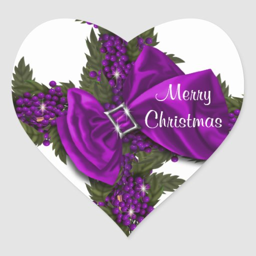 El navidad que saluda los sellos púrpuras PERSONAL Pegatina Corazón Personalizadas
