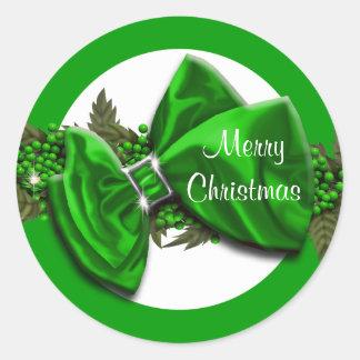 El navidad que saluda verde de los sellos pegatina redonda