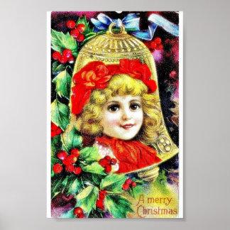 El navidad que saludaba con una foto del chica se  póster