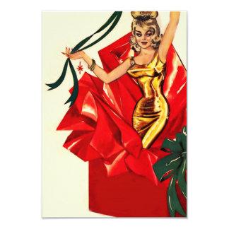 """El navidad retro 60s invita invitación 3.5"""" x 5"""""""