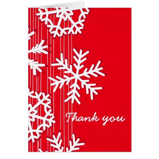 El navidad rojo de los copos de nieve le agradece  felicitacion