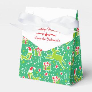 El navidad rojo del verde del pájaro del reno cajas para detalles de boda