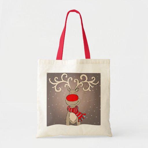 El navidad rojo, gris y natural de Rudolph empaque Bolsas Lienzo