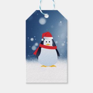 El navidad rojo lindo del gorra del pingüino w etiquetas para regalos