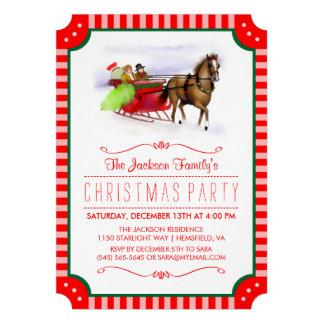 El navidad rojo y blanco del caballo y del trineo invitación