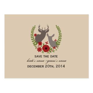 El navidad rústico que casa ciervos florales ahorr tarjeta postal