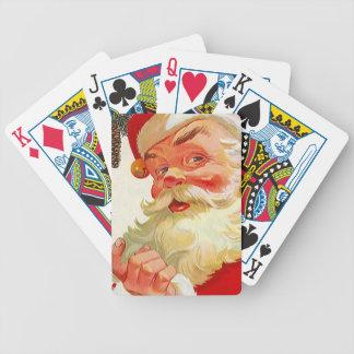 El navidad Santa del vintage tienta tarjetas del j Barajas De Cartas