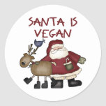 El navidad Santa es vegano Pegatina Redonda