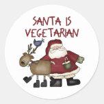 El navidad Santa es vegetariano Etiqueta Redonda