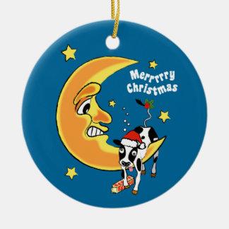 El navidad se acobarda caído sobre la luna adorno navideño redondo de cerámica