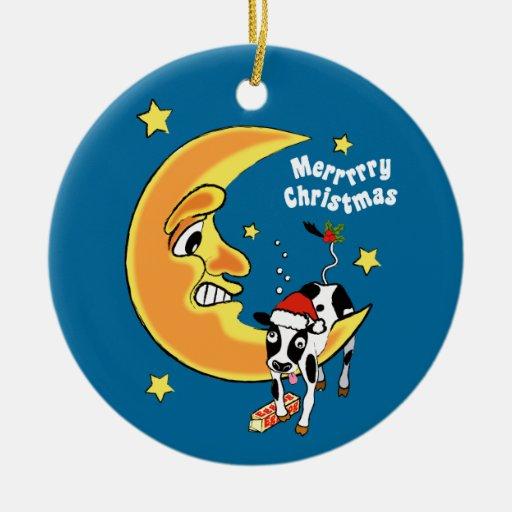 El navidad se acobarda caído sobre la luna ornamentos para reyes magos