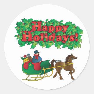 El navidad se junta en un trineo etiqueta redonda