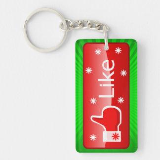 El navidad tiene gusto del botón llavero rectangular acrílico a doble cara