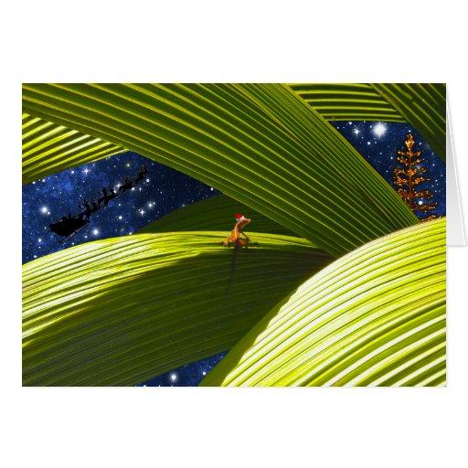 El navidad tropical de un lagarto del Gecko Felicitacion
