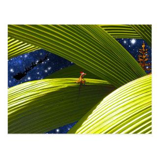 El navidad tropical de un lagarto del Gecko Tarjetas Postales