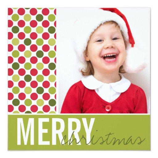 """El navidad verde y el rojo puntea la tarjeta de la invitación 5.25"""" x 5.25"""""""