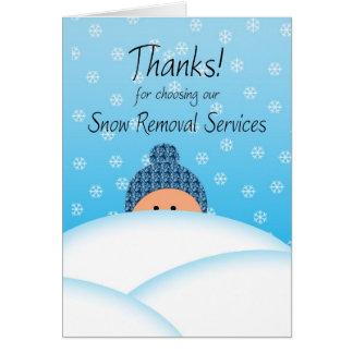 El negocio agradece servicios del quitanieves del tarjeta de felicitación