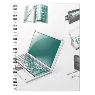 El negocio equipa iconos cuadernos