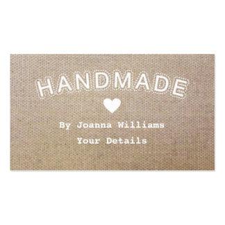 El negocio hecho a mano del arte de la arpillera d plantilla de tarjeta de visita