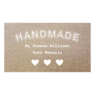 El negocio hecho a mano del arte de la arpillera d plantilla de tarjeta personal