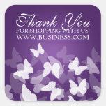 El negocio le agradece las mariposas púrpuras calcomanías cuadradases