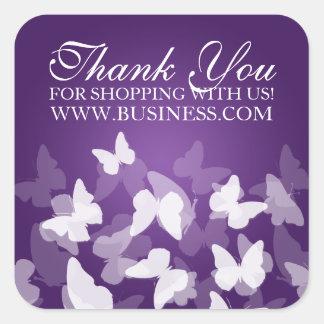 El negocio le agradece las mariposas púrpuras pegatina cuadrada